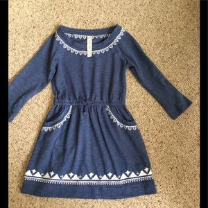 Girls 4/5 blue dress with white embroidery